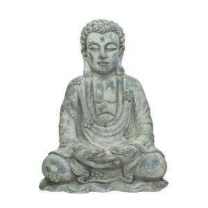 BUDDHA RESINA 36,5X27X CM H.49 CM GRIGIO