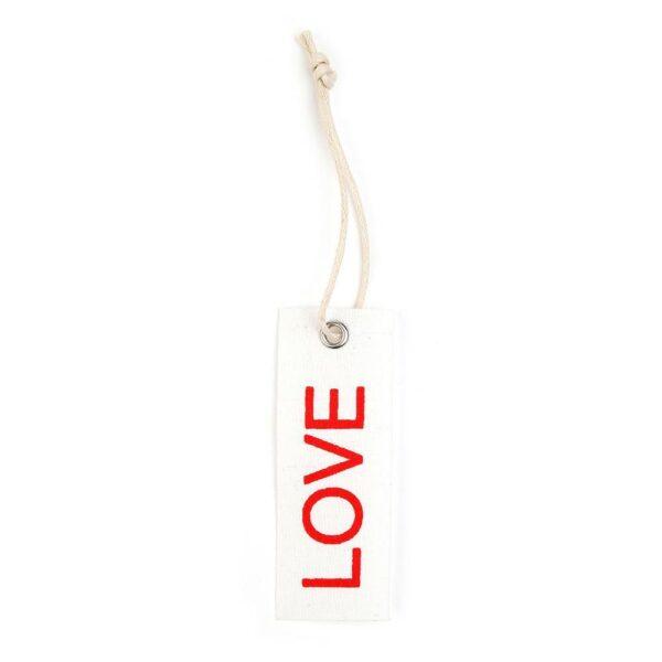 SET 6 TARGHETTE COTONE -COTTON LOVE- BIANCO/ROSSO