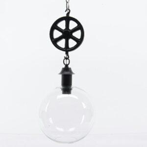 PENDENTE LAMPADA VETRO C/CARRUCOLA MET. D23X20 TRASP./NERO